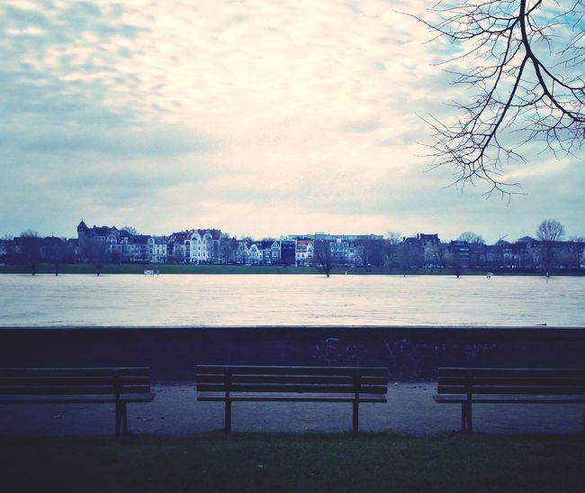 Flood Flooding Flooded Düsseldorf Rhein Dramatic Sky Cloud - Sky No People Outdoors