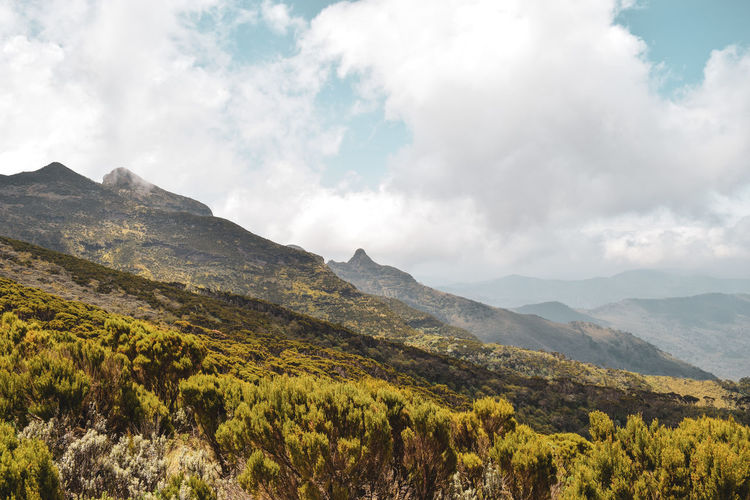 Scenic view of mountains against sky, elephant hill in the aberdare ranges, kenya