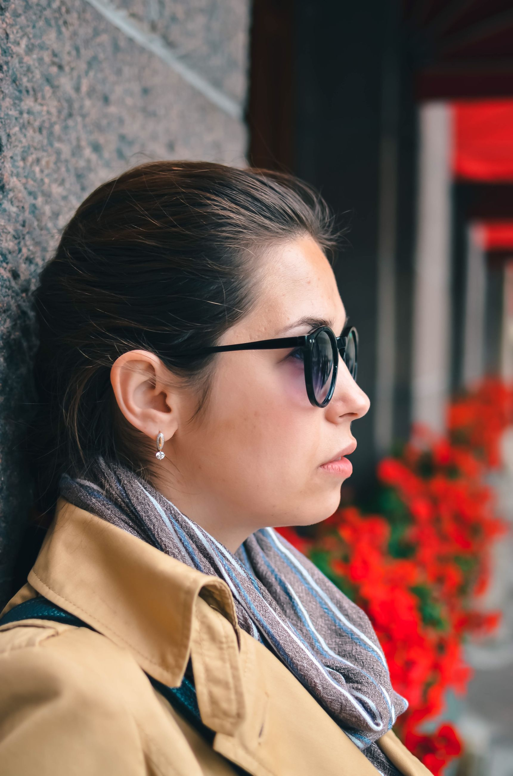 headshot, real people, young adult, lifestyles, one person, glasses, young women, portrait, leisure activity, looking away, casual clothing, focus on foreground, women, looking, hair, hairstyle, adult, eyeglasses, black hair, contemplation, outdoors, beautiful woman