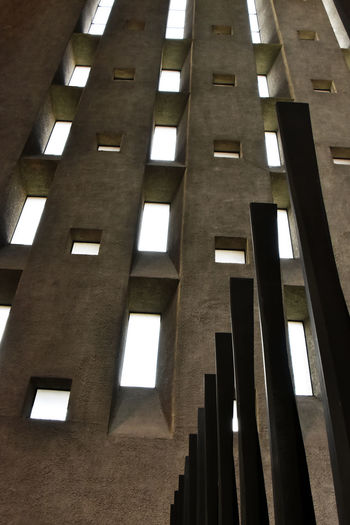 Architecture Architecture Building Interior Built Structure Concrete Wall Coventry Cathedral - UK Day Looking Up Low Angle View No People Windows The Graphic City
