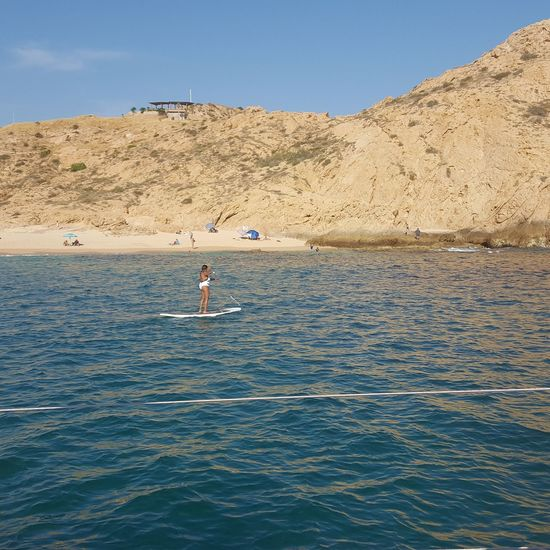 Paddleboarding Sportsman Water Sea Clear Sky Sport Full Length Adventure Athlete Blue