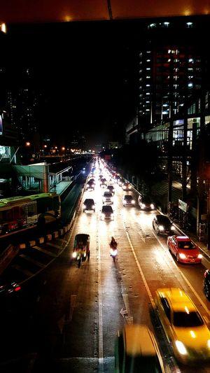 Bangkok light on street Night Traffic Car Transportation Road Outdoors Bangkok City City Thailand First Eyeem Photo