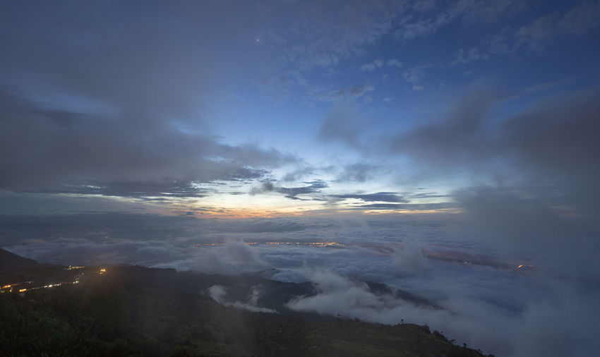Aerial view of cloudscape over mountain