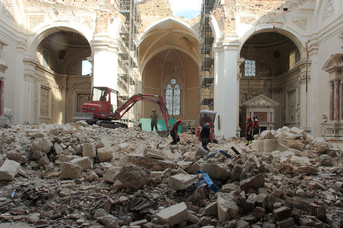 L'Aquila: rubble in the church of Santa Maria di Collemaggio Abruzzo L'Aquila Rubble Wall Rubbles Arch Architecture Built Structure Collapsed Digger Earthquake In Italy Earthquake L'aquila Eartquake Firefighters Full Length Indoors  Italy Men People Place Of Worship Real People