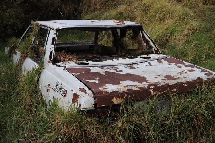It is time for something new... welcome 2018 Be. Ready. Damage Old Cars Rost Abandoned Damaged Day Field Grass Landscape Nature Need Somthing New No People Outdoors White