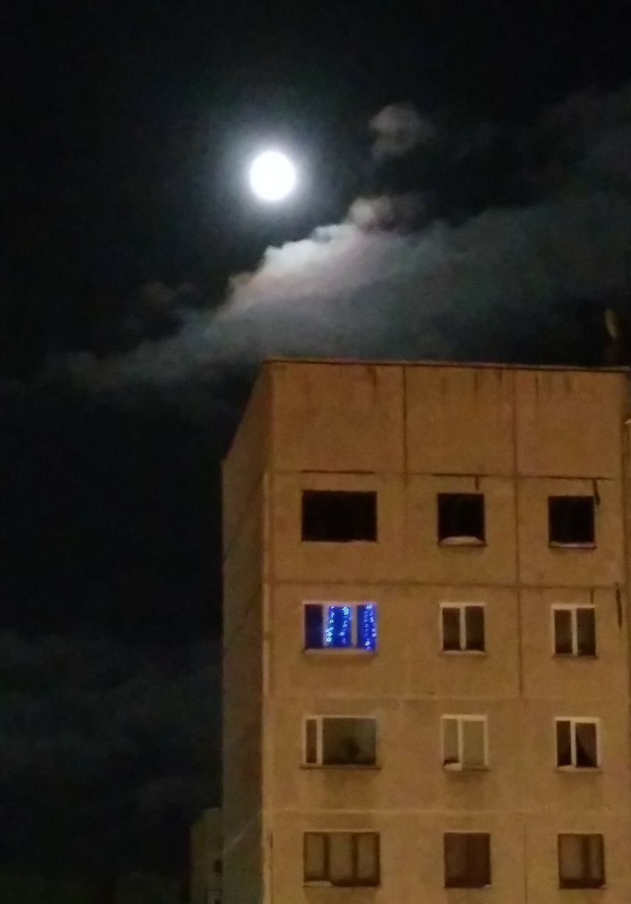 night, moon, illuminated, architecture, sky, built structure, building exterior, full moon, cloud - sky, low angle view, moonlight, no people, building, nature, outdoors, window, city, astronomy, travel destinations, planetary moon