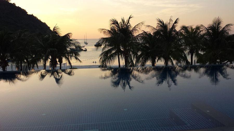 Thailand Koh Racha Swimming Pool Sea Palm Tree Travel Destinations Tourism Thai Thaïlande Coucher De Soleil Mer Plage Iles  Piscine Piscina