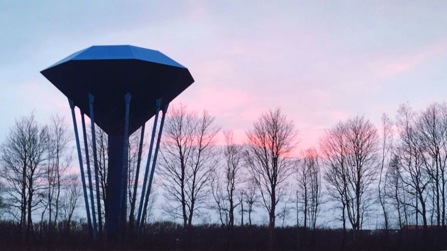 Water Tower in Denmark Sky Tree Plant Sunset Bare Tree Nature Silhouette