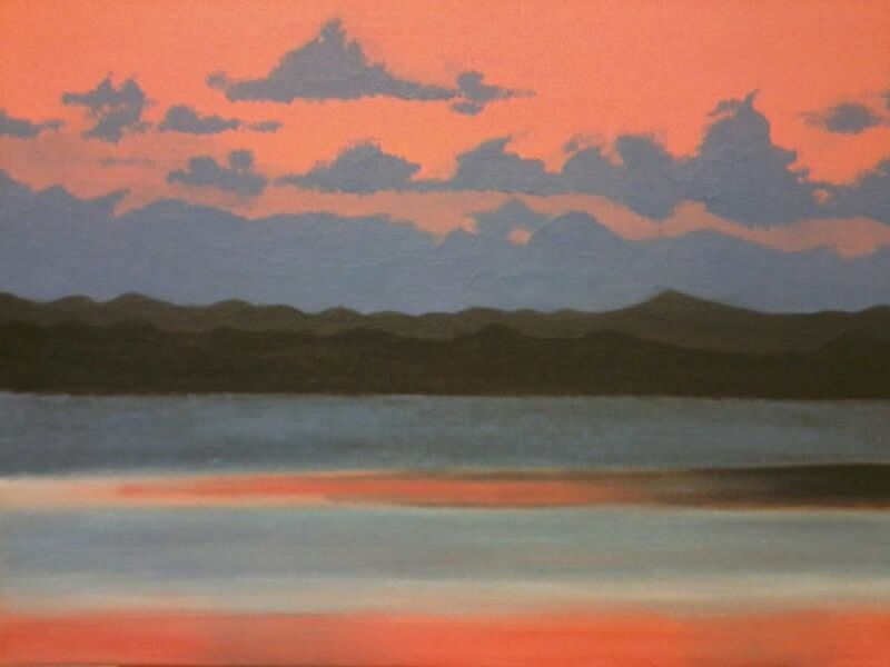 At night. Sunset Nature Water Orange Sky Acrylic Painting Makebyme Art, Drawing, Creativity JMR Picture Relaxing Moments Outdoors Pastel Colored Beauty In Nature