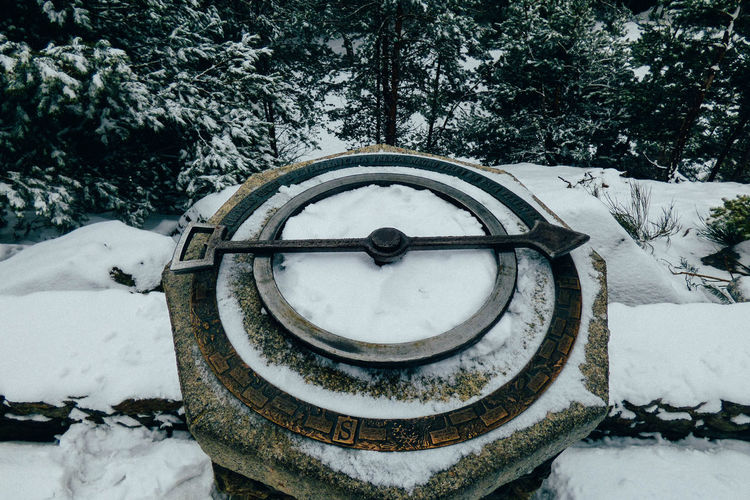 Close-up of wheel on snow covered field