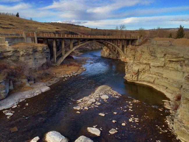 Lundbreck Falls Bridge River Rocks Alberta Canada