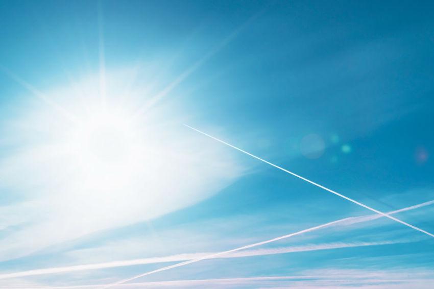 Blue Cloud Day Direct Sunlight Sky Sun Sunbeam Vapor Trail