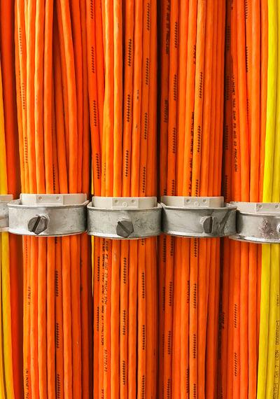 Full frame shot of orange cable