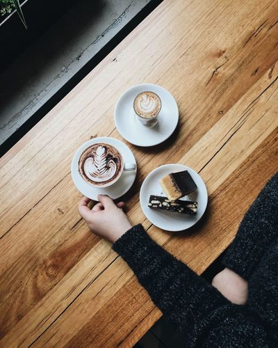 Good morning, it's a coffee time. Food And Drink Table Coffee - Drink Coffee Cup Drink Directly Above High Angle View Cappuccino Dessert Sweet Food Food Indoors  Morning Morning Rituals Coffee Break