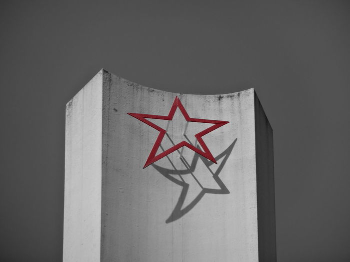 Star Parachute Jumper Shadow Comunistbuilding Heritage Monument Comunism Heritage Red Black Background Black Color Close-up Symbolism