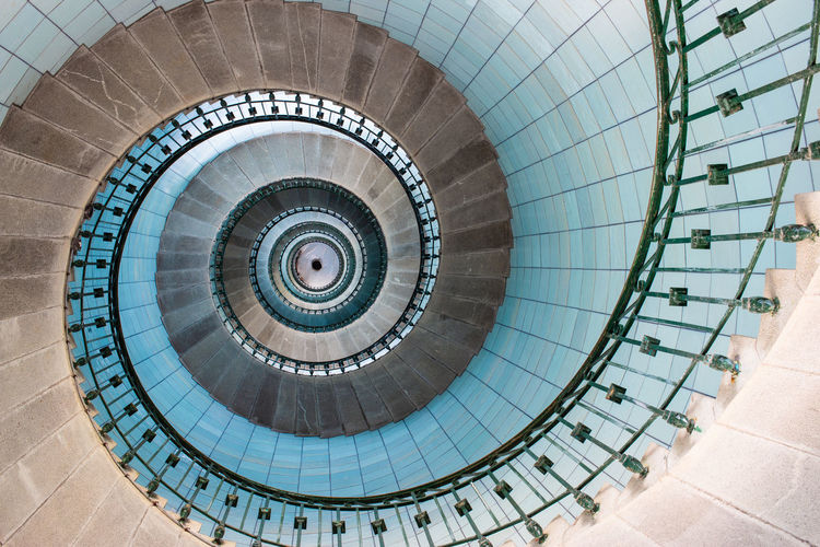 View of stairs spiral inside the lighthouse, vierge island, brittany,france