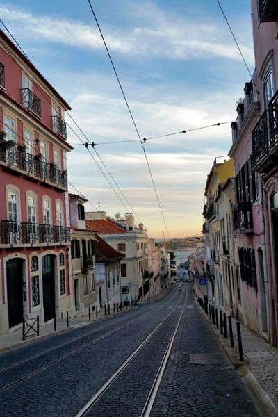 Alcántara Empty Streets Furnicular Portugal Sunset In The City  Architectural Detail Architecture Building Exterior Built Structure Depth Of Field Empty City Lisbon Railroad Track Street Street Photography Tram Tracks