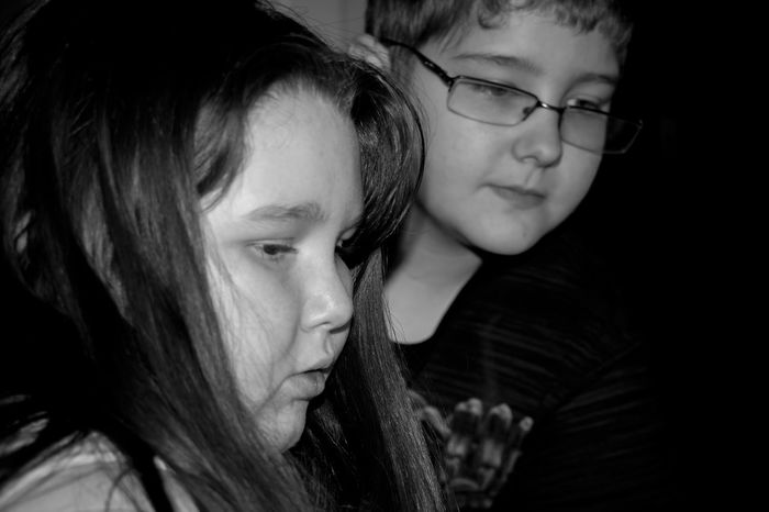 My two eldest working on a project Black And White Photography Brother And Sister Close-up Confidence  Contemplation Front View Head And Shoulders Headshot Human Face Innocence Person Portrait Real People Serious Young Adult