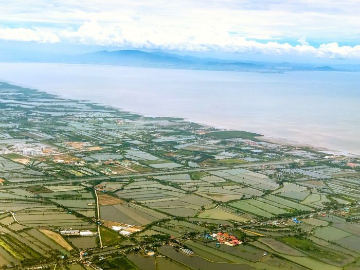 The Rim Cloud - Sky Scenics Beauty In Nature Tranquil Scene Field Aerial View Irrigation City Planning River Landscape Farming Aquaculture Gulf Of Thailand Shoreline Mountain Range Ocean View Waves Rice Field Agriculture Thailand