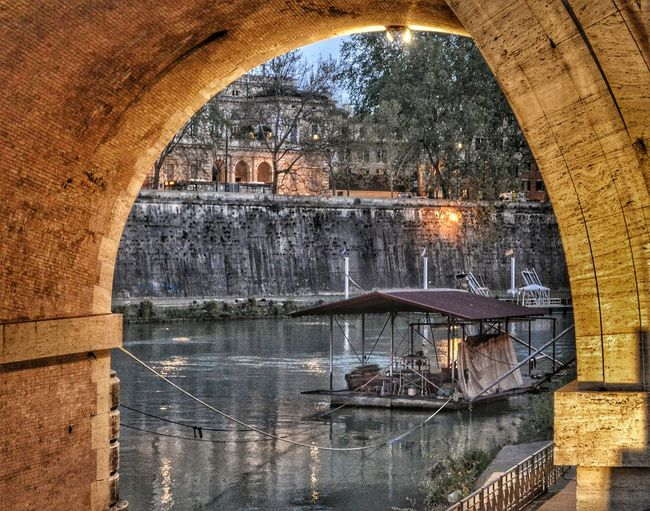"""Il Tevere Sotto Ponte Regina Margherita"" - The Tevere from Underneath Ponte Regina Margherita"" - Roma Rome Roma Photobydperry Built Structure Outdoors Bridge View Bridge Tevere River Ponte Riverboat - Reflection Riverboat Moving Around Rome"