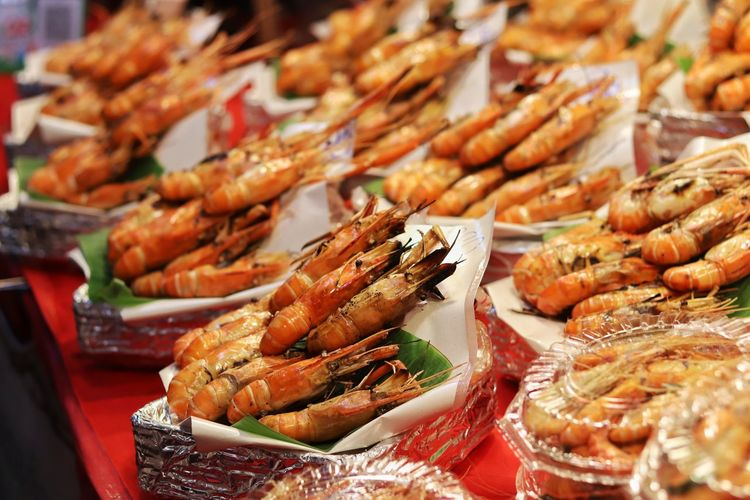 Close-up of seafood at market stall