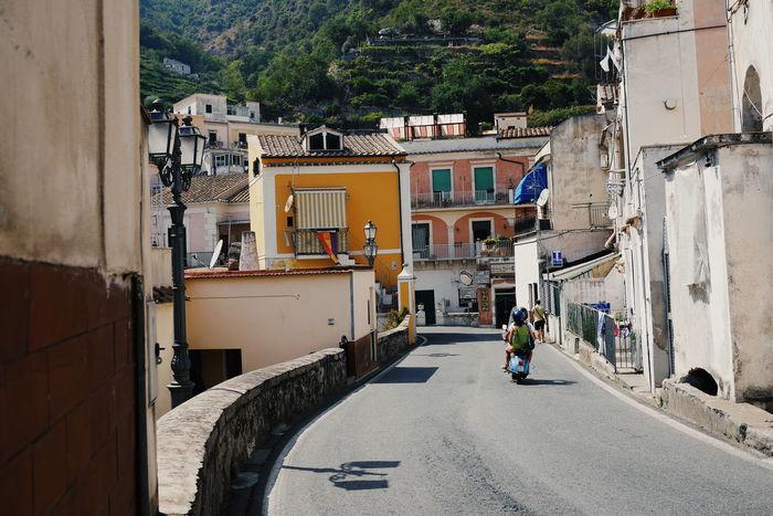 Cetara Amalfi Coast Italy Streetphotography Streetscene Streetscape Vespa Road Street Colourful Houses