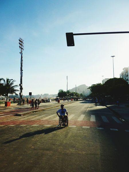 Brazil Copacabana - Rio De Janeiro Copacabana Rio De Janeiro Rio De Janeiro Eyeem Fotos Collection⛵ Sunny Day Beach Outdoor Photography No Traffic Handicap Wheelchair Road Closed Traffic Lights Handicapped Handicaped Disability