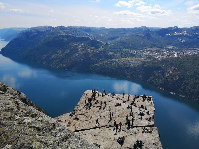 High angle view of tourists on mountain