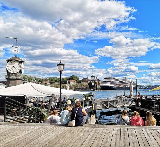 Norway Oslofjord City Sitting Men Women Gondola - Traditional Boat Nautical Vessel Sea Blue Togetherness Sky Harbor Pier Dock Port Marina Boat