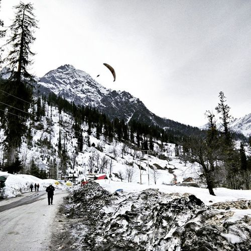 Incredible India Solang_valley Solang Himachal Pradesh Snowfall in Valley Paragliding in high Mountains