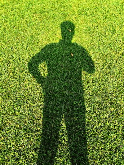 "The Other Me - My Shadow ""How can I be substantial if I do not cast a shadow? I must have a dark side also if I am to be whole"" - Carl Gustav Jung, Swiss Psychiatrist Shadow Shadows & Lights Shadows Grass Green Color Outdoors IPhoneography Iphonephotography Iphone6splus"