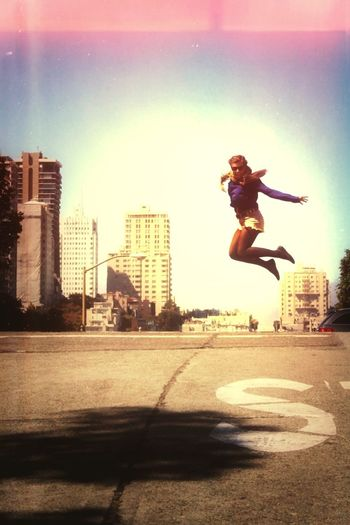 Happy Girl In the Streets Of San Francisco Around The World By Lufthansa
