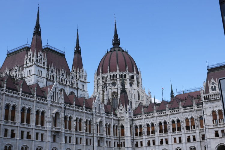 Low Angle View Of Hungarian Parliament Building Against Clear Blue Sky