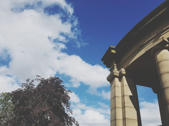 Sky Architecture Architectural Column Cloud - Sky Low Angle View Blue Built Structure Day No People Outdoors Tree Building Exterior Greenhead Park Park Huddersfield EyeEm Selects Sunday Building Columns Arches Arched Close-up Blue Sky Blue Sky And Clouds