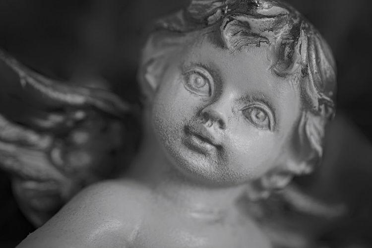 Angel Angel Angels Archangel Black & White Black And White Blackandwhite Bw_collection Child Close-up Creature Creatures Dreaming Esoteric Face Figure Indoors  Joy Joyful Love Luck Monochrome Portrait Skulptur Spirituality Statue