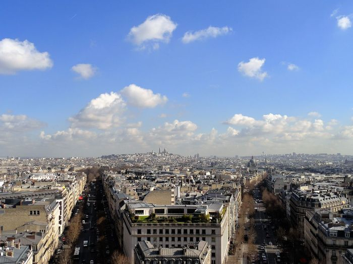 Cityscape against sky seen from arc de triomphe