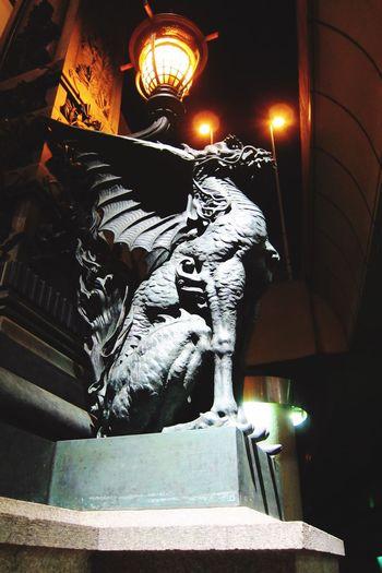 Japan Nihonbashi Illuminated Night Statue Sculpture Church Dark Place Of Worship Creativity Electric Light Outdoors Kirin Light And Shadow