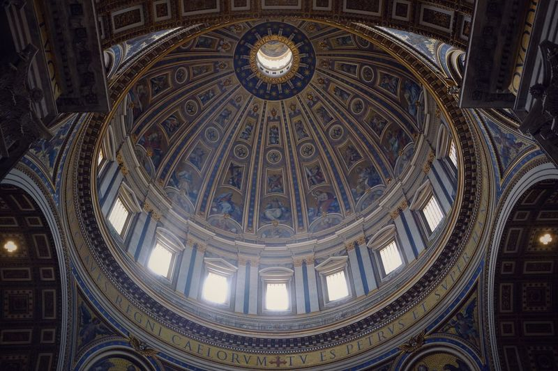 Under the Dome EyeEm Best Shots Catholic Pope Rome Beauty Light Architecture Built Structure Religion Low Angle View Belief Travel Destinations Place Of Worship Spirituality Ceiling Building