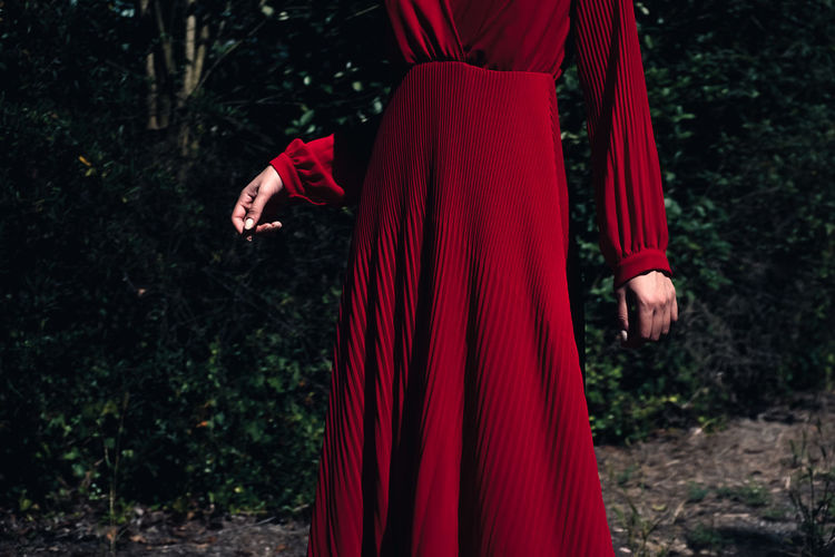 Red One Person Real People Standing Adult Clothing Nature Women Dress Detail Hand Hands Red Dress Fashion