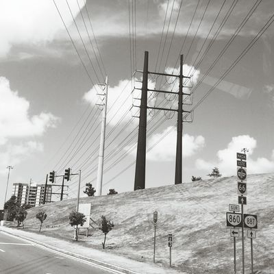 Connection Electricity Pylon Power Line  Roadside Blackandwhite Electricity  Landscape