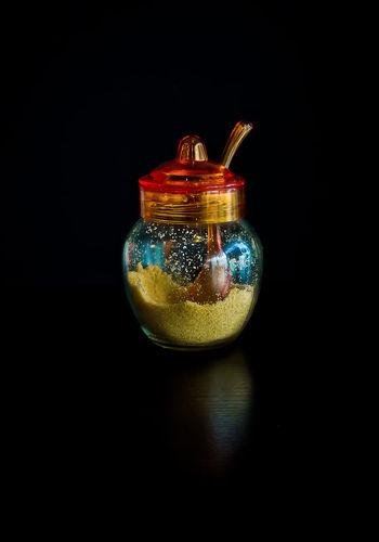 Black Background Blackandwhite Brown Close-up Container Dessert Glass Glass - Material Indoors  Jar No People Reflection Studio Shot Sugar Sweetener Transparent Utensil