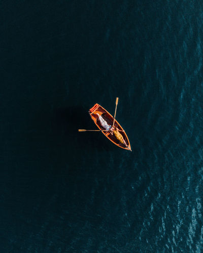Directly above shot of couple kissing on boat in lake