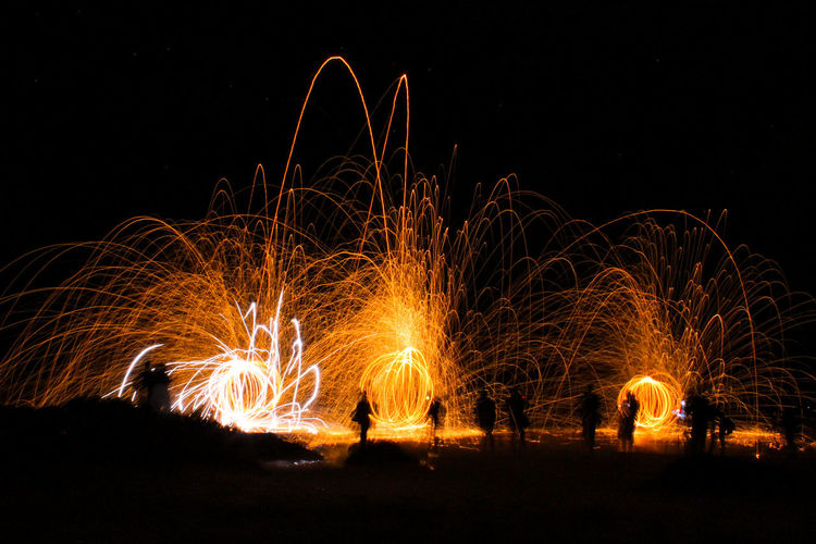 Wire Wool Against Clear Sky At Night