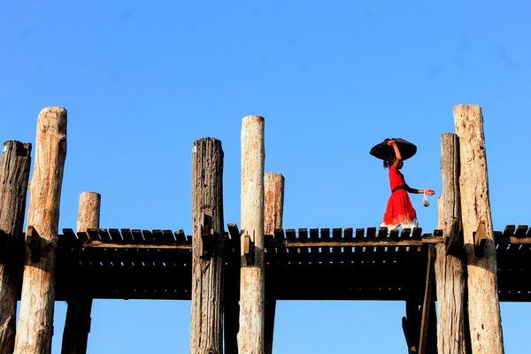 Myanmar Mandalay Bridge Ubeinbridge Travel Red Wood Wood - Material Sun Backpacking