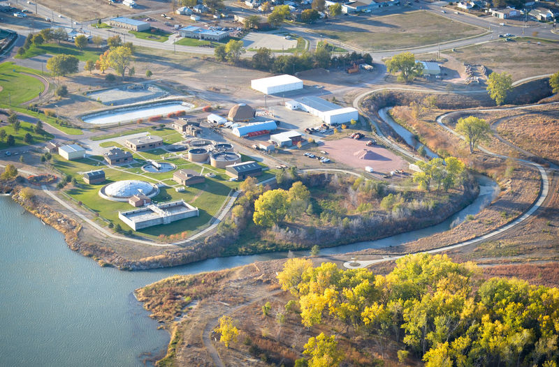 Sewer Sewage Sewage Treatment Plant Water River Creek Stream City Town Utilities Waste Sanitation Environment High Angle View Aerial View Aerial Aerial Photography Water Treatment Plant Built Structure Building Exterior Yankton South Dakota Filtration Waste Water Industrial