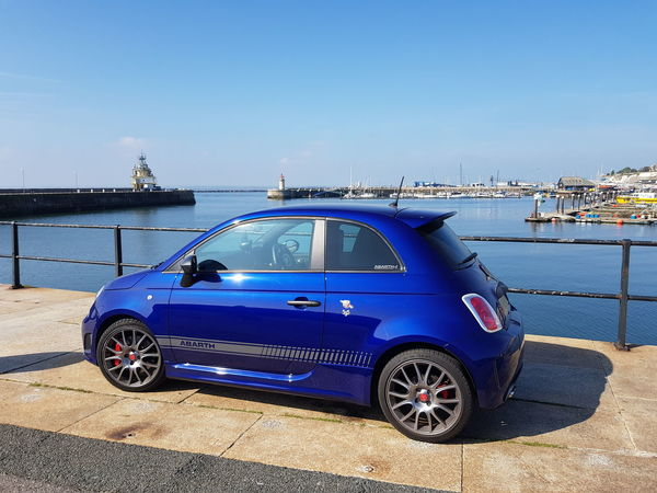 Fiat at Harbour Fiat 500 Abarth Fiat Fiat500 Car Badges Blue Sea Ramsgate Ramsgate Royal Harbour Pier Boats Pontoon Clear Sky Blue Sky Collector's Car Parking Sports Car