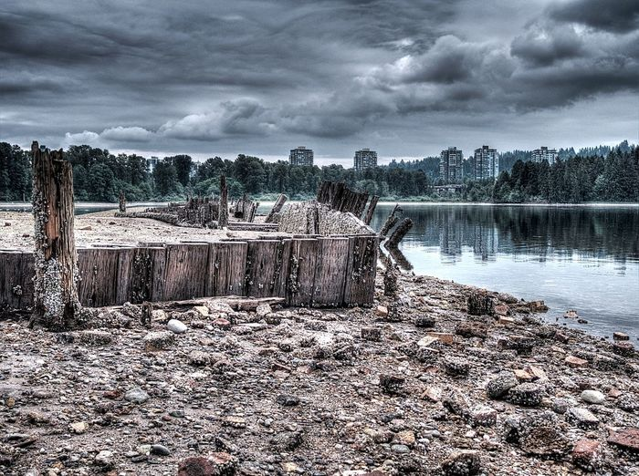 Port Moody Water Reflections Waterfront Storm Clouds Barnicles Pilings Reflections Reflection_collection