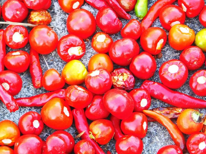 Red round chillies Food Food And Drink Fruit Healthy Eating Freshness Red Full Frame Large Group Of Objects Backgrounds No People Day Indoors  Close-up Red Color Nature Red Chillies Spices Art Photography Original Artwork Round Red Ball Naturelover Redhead Hot Red Red Round Chilli