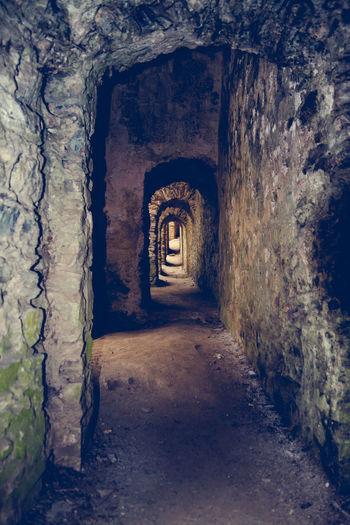 Empty passage at historic rheinfels castle
