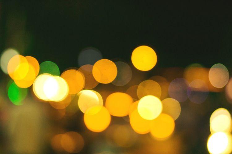 Illuminated defocused lights at night